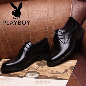 花花公子男鞋商务正装男士软底皮鞋男真皮英伦系带透气新郎婚鞋子
