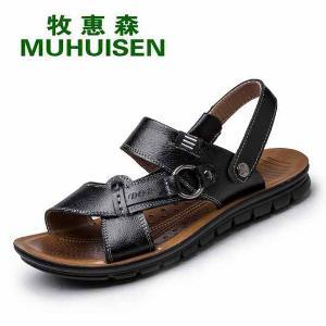 牧惠森新款夏季凉鞋沙滩鞋 男士凉鞋真皮男鞋7055