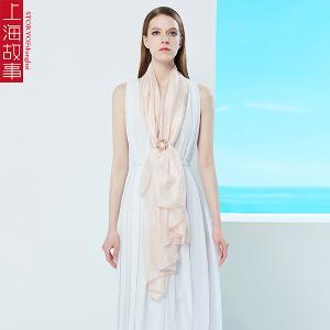 上海故事新款真丝纯色百搭长巾披肩悠悠我思