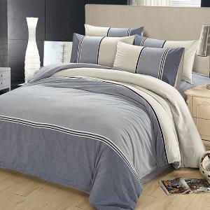 520水洗棉四件套 全棉 雙人被套床單 素色秋冬四件套灰藍空間