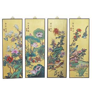 池家俊漆雕《春夏秋冬》四条屏
