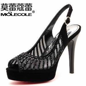 莫蕾蔻蕾新款夏季网纱高跟凉鞋女防水台鱼嘴高跟性感女鞋5X025
