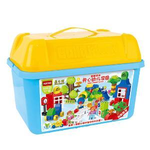 惠美儿童开心幼儿学园带管道106颗大颗粒积木玩具HM135
