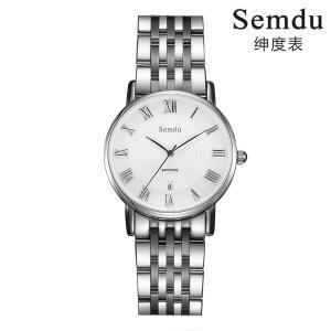 绅度手表商务知性OL日历超薄钢带石英手表机芯进口女表SD9143LPS