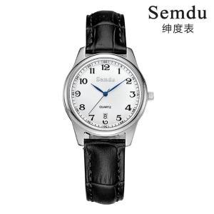 绅度手表经典时尚镶钻防水日历女士腕表黑皮带石英女表SD9015LPS