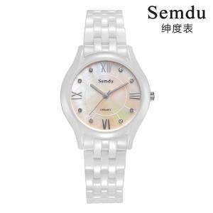 绅度镶钻超薄时尚白陶瓷表进口机芯手表防水石英女表SD6026LPS