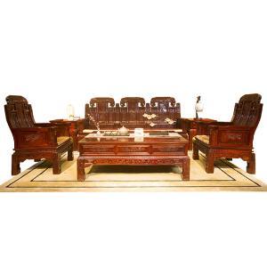 楠皇阁非洲酸枝象头沙发八件套
