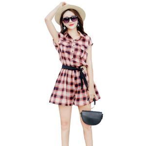 百依恋歌 2017夏季新款学院风格子收腰连体短裤 7223