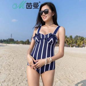 茵曼内衣 条纹海军风性感连体泳衣女三角 9872511087