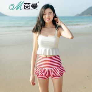 茵曼内衣 优雅气质条纹钢托保守平角泳装分体泳衣女 9872512234