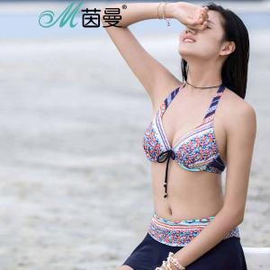 茵曼内衣 性感比基尼式挂脖 分体泳衣女9872512068