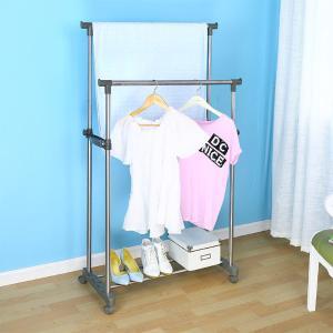 宝优妮卧室晾衣架双杆式室内挂衣架落地家用晒衣架不锈钢挂衣服架