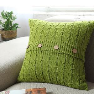 倾世皇居全棉麻花针织靠垫枕套含芯