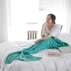 倾世皇居春秋季毯子盖毯鱼鳞美人鱼沙发尾巴针织线毯