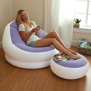正品INTEX_68572懒人沙发懒骨头充气沙发+脚凳躺椅