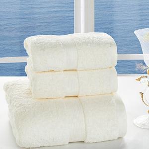 莱薇素缎进口巴基斯坦长绒棉毛巾浴巾三件套套装(奶油黄)