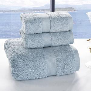 莱薇素缎进口巴基斯坦长绒棉毛巾浴巾三件套套装(灰青)