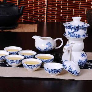 利茸 蝶恋花 自动茶具套装 青花瓷茶具陶瓷功夫茶具