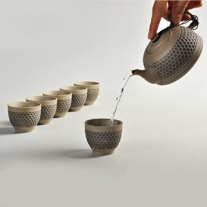 利茸 粗陶茶具套装台湾老岩泥茶具一壶六杯