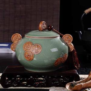 利茸 招财进宝 开片冰裂茶叶罐大号浮雕陶瓷密封罐 礼盒装