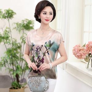 黛熙月夏季新款女裝真絲T恤印花桑蠶絲短袖上衣媽媽裝yz9801