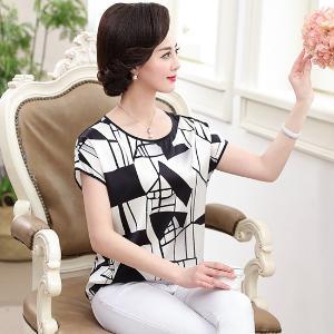 黛熙月夏季新款女裝真絲T恤桑蠶絲短袖上衣媽媽裝yz9828
