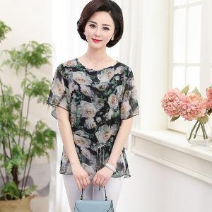 黛熙月夏季新款女裝真絲T恤印花桑蠶絲上衣媽媽裝yz8808