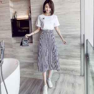 MUYANG【套裝】夏季新款韓版清新甜美T恤上衣條紋中長裙兩件套BL9184