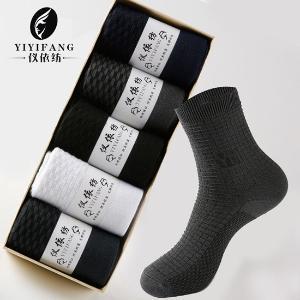 儀依紡新款5雙裝加厚雙針男士秋冬季中筒襪運動休閑純色棉襪子Y004-1方格