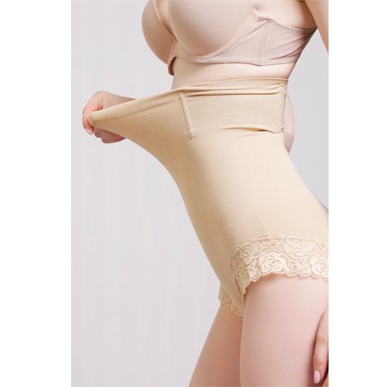 浪莎蕾丝收腹提臀高腰美体裤