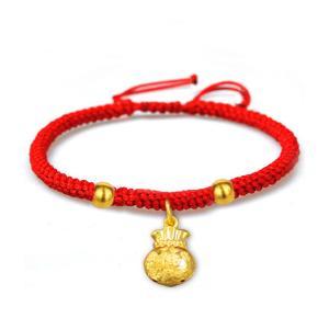 天寶龍鳳足金黃金福袋紅繩手鍊