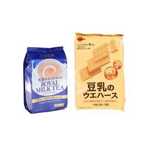 日本bourbon豆乳威化饼/包16枚+日东网红速溶奶茶10条装/袋140g