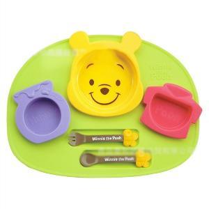 日本迪士尼锦化成 儿童餐具宝宝卡通餐盘六件套-维尼熊