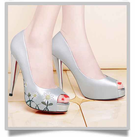 莫蕾蔻蕾新款性感鱼嘴高跟鞋细跟女鞋韩版花朵鞋 70152